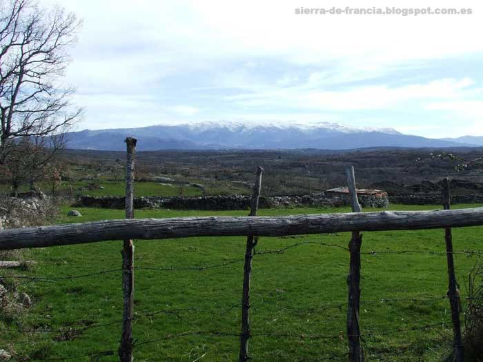 vista de la sierra de candelario nevada