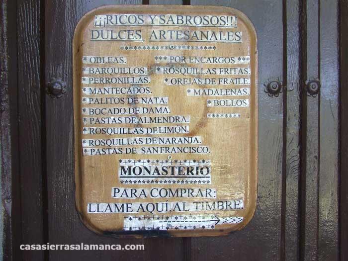 horarios y lista de productos de las monjas de el zarzoso
