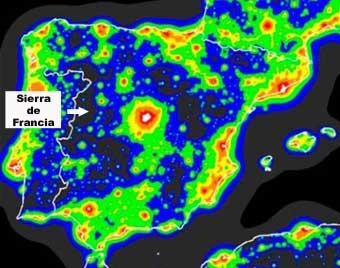 mapa da poluição luminosa na Espanha