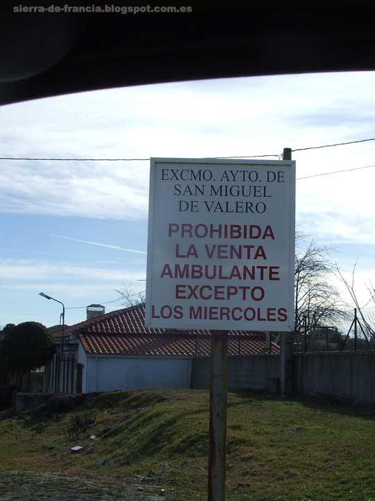 cartel en san miguel de valero