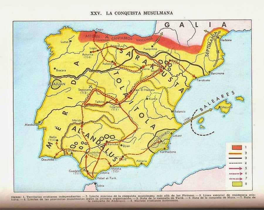 mapa invasión arabes