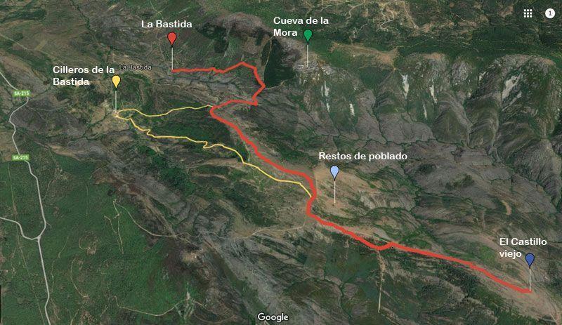 Mapa ruta castillo viejo de valero