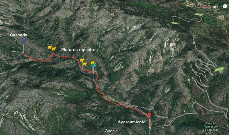 mapa de la ruta cascada del chorro en las batuecas