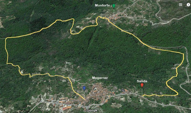mapa del camino del agua en Mogarraz