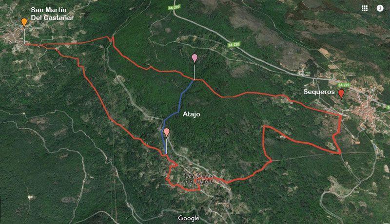 mapa de la ruta del asentadero bosque de los espejos