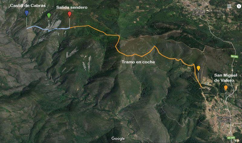 mapa ruta castill de cabras en la sierra de quilamas