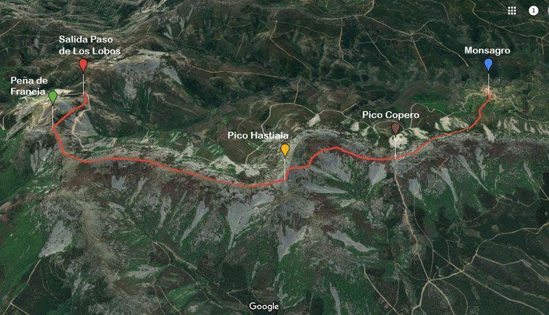 mapa de la ruta peña de francia monsagro