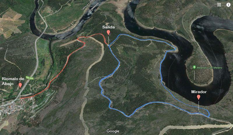 mapa ruta de los meandros de melero