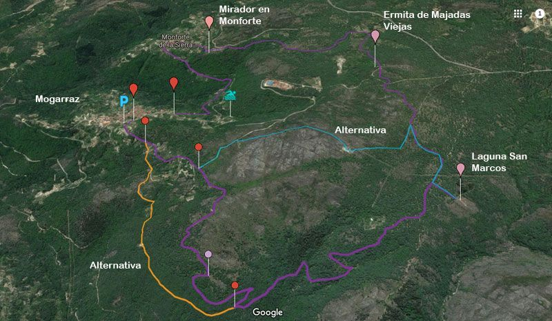 Mapa de la ruta Mogarraz monforte