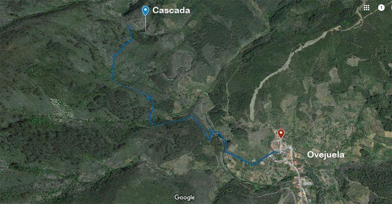 Mapa de la ruta de la cascada de ovejuela