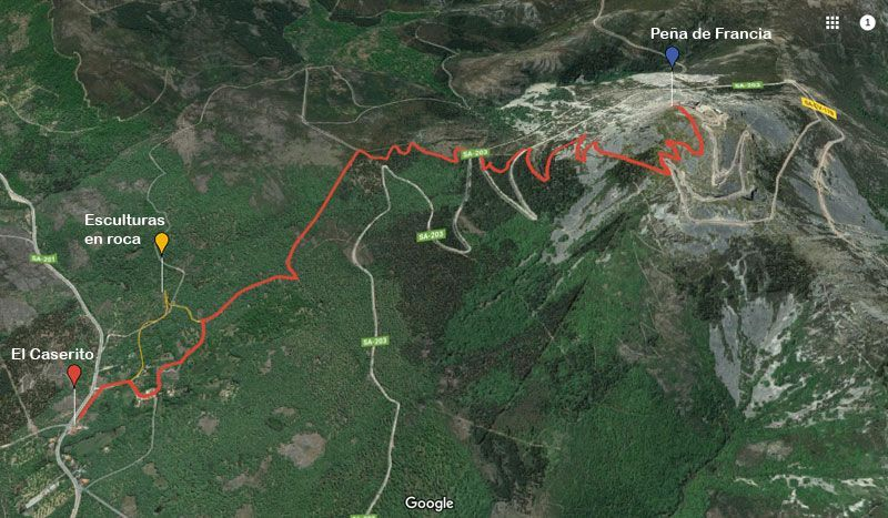 Mapa ruta Peña de francia