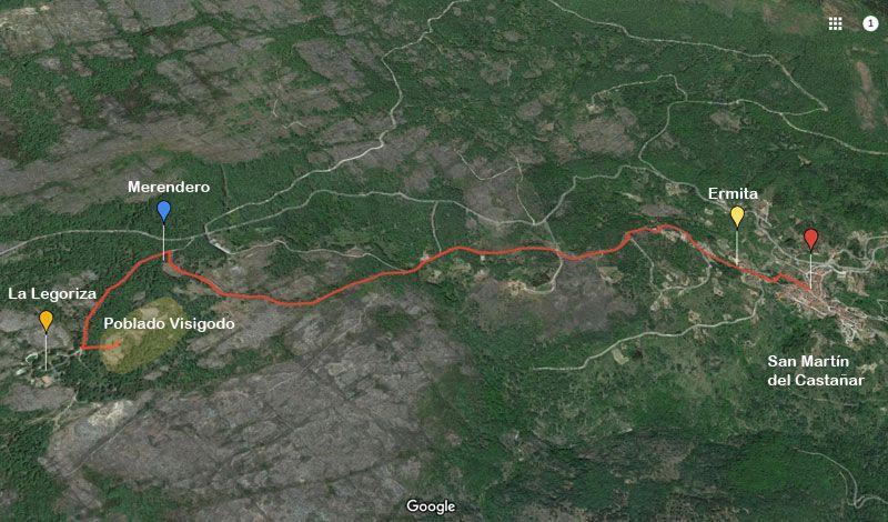 mapa ruta de la legoriza san martín del castañar
