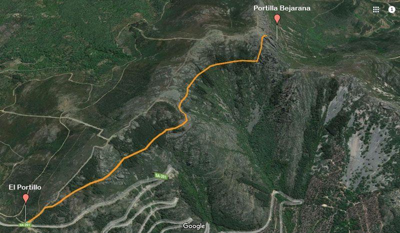 mapa de la ruta a la puerta bejarana