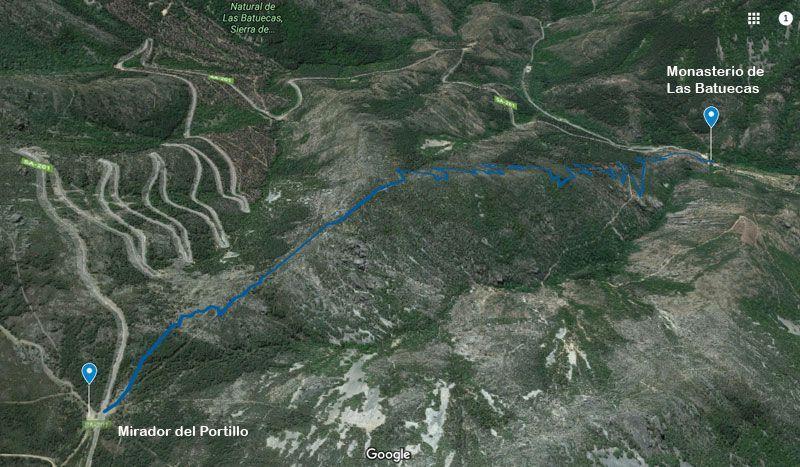 mapa ruta del portillo al monasterio de las batuecas