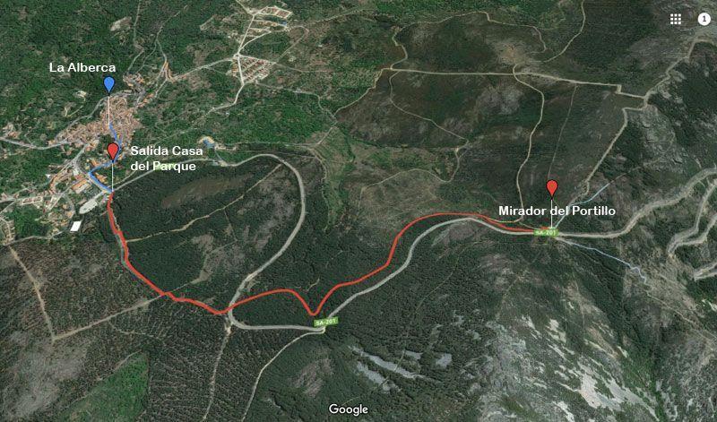 mapa de la ruta la alberca hasta el portillo