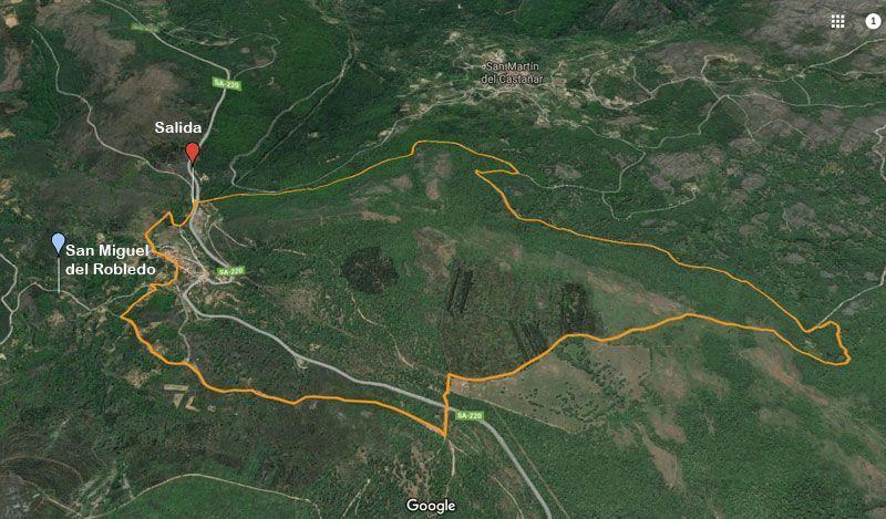 mapa ruta de senderismo en san miguel del robledo