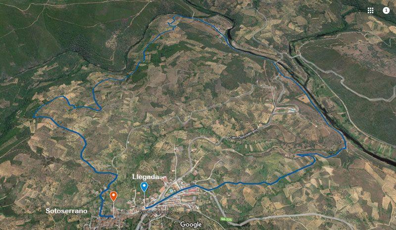 mapa de la ruta de los 3 ríos en Sotoserrano