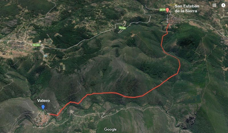 mapa de la ruta de san esteban a valero