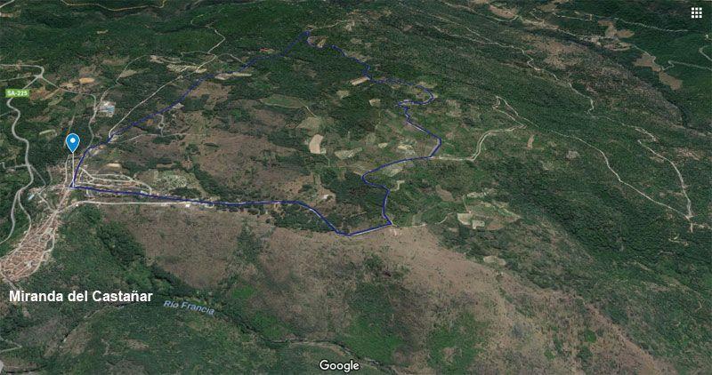 mapa del recorrido del camino de los rodales en miranda