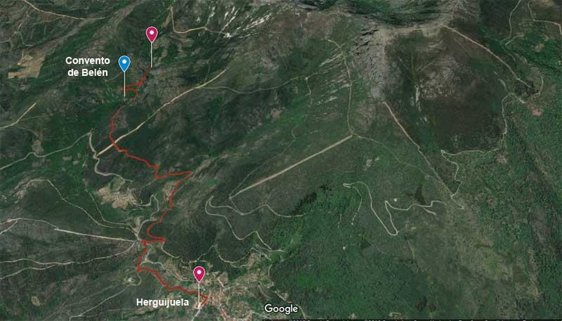 plano de google maps de la Ruta herguijuela hasta convento de belen